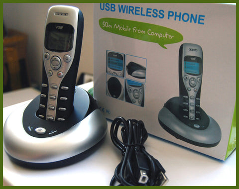 Cordless Wireless Handfree USB VoIP Phone for Skype