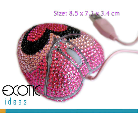 Optical Computer Mouse, Heart Shape with Crystal Rhinestone Set