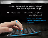Bluetooth 7-Colors Backlit Keyboard. Ergonomic Design. For Android, Windows and iOS systems.