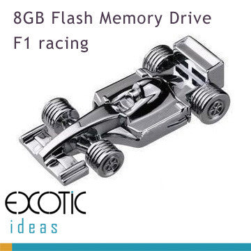 8GB USB Flash Memory Stick, F1 Racing Car - Sliver