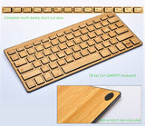Natural Bamboo Ultra-slim Universal  Bluetooth 3.0  Keyboard, Works with iOS, Android, Windows