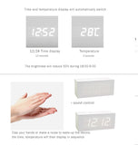 Rectangular White Oak  Wooden Alarm Clock White LED Display, Time, Temperature, Sound Control