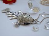 8GB USB Flash Memory Stick, Fish Bone Shape with Crystal Set