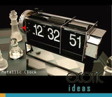 Stainless Auto Flip Desk Clock Retro Style with Gear Design, Alarm Clock