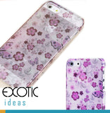 BaseUs iPhone 5 Case Skin - Semi Transparent PC Case with Flowers, Butterflies Patterns