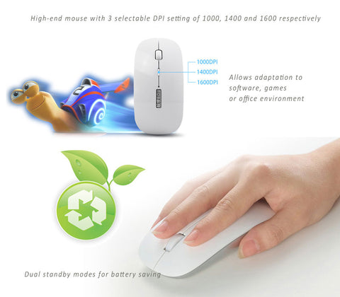 BOW Bluetooth 3.0 Optical Mouse. Dual Standby Modes for Energy Saving. Compatible with Windows, Apple iOS and Android 4.0 or above