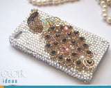 3D Fine Crystal Rhinestone Apple iPhone 5,5S,5C  Skin Case Cover - Golden Crystal Peacock with Clear Crystal Base