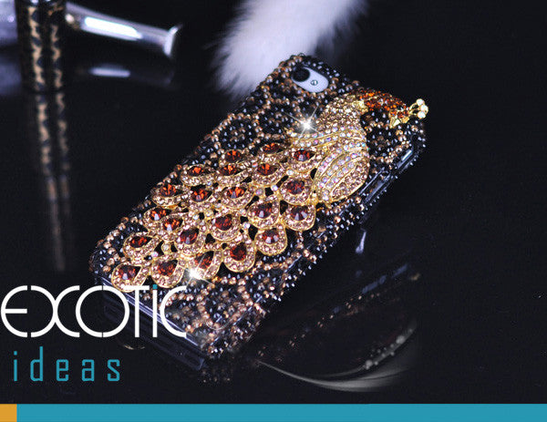 3D Fine Crystal Rhinestone Apple iPhone 5,5S, 5C Skin Case Cover - Gold Peacock  with Gold Leopard Texture