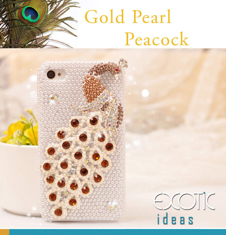 3D Fine Gold Crystal Rhinestone and Pearl Peacock Apple iPhone 4 / 4S Skin Case Cover - with Pearls Set Case