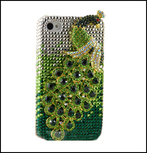 Fine Crystal Rhinestone 3D Apple iPhone 4 4S Skin Case Cover - Peacock - Green