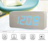 White Oak Wood Wooden Alarm Clock LED Display, Time, Date, Temperature, Sound Control