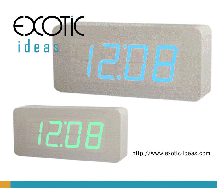 White Oak Wooden Alarm Clock Green Blue LED Display, Time, Date, Temperature, Sound Control.