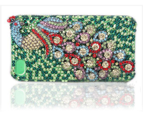 3D Fine Crystal Rhinestone Apple iPhone 5, 5S, 5C Skin Case Cover - Colorful Peacock  with Green Crystal Base
