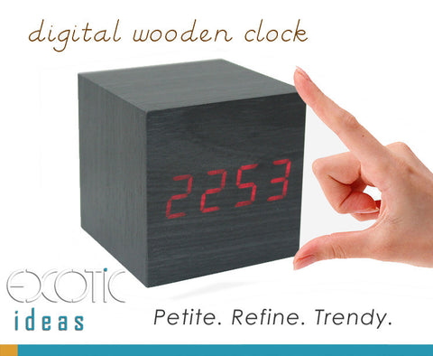 Mini Cube Grey Wood Skin Wooden Alarm Clock RedLED Display,  Time, Temperature, Sound Control