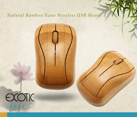 Natrual Bamboo Optical Mouse with Nano USB Wireless Receiver - MG93