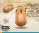 Natrual Bamboo Optical Mouse with Nano USB Wireless Receiver -MG95