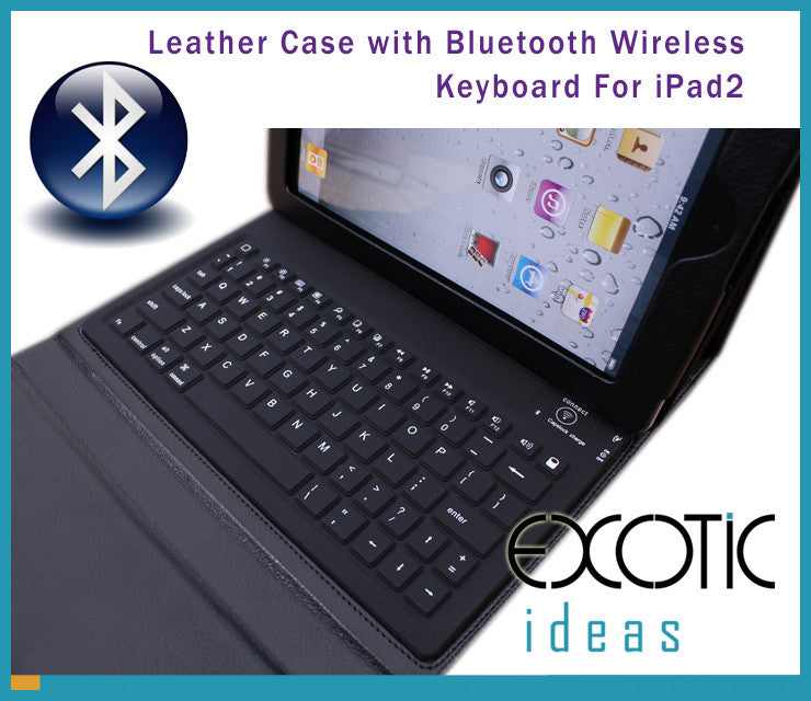 Bluetooth Wireless Silicone Keyboard Dock, Leather Cover Case for iPad 2/iPad 3/iPad 4 -Black