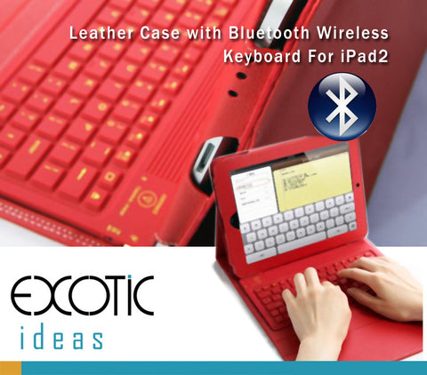 Bluetooth Wireless Silicone Keyboard Dock, Leather Cover Case for iPad 2/iPad 3/iPad 4 -RED