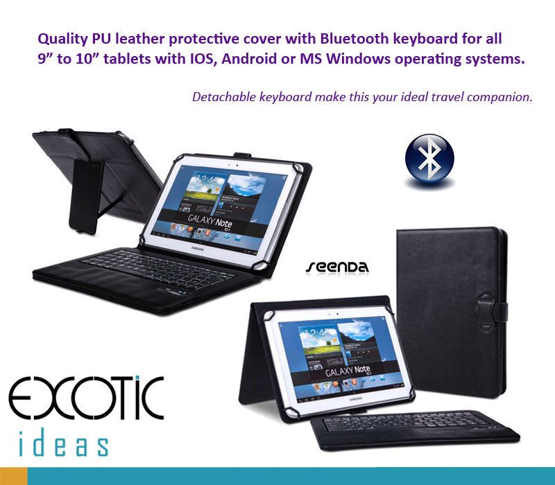 "Bluetooth keyboard for 9"" to 10.1"" tablets for IOS, Android or MS Windows, bundled with cover"