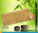 Natural Bamboo Wireless 88 Keys Keyboard + Bamboo Mouse Set with Nano USB Wireless Receiver