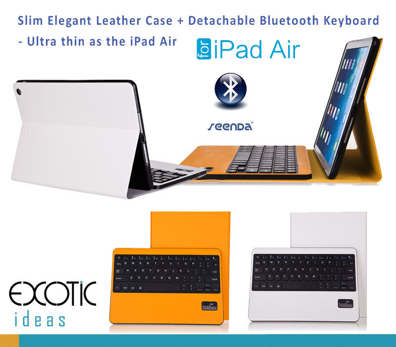 Ultra Slim Leather Cover with Detachable/Removable Bluetooth Keyboard for iPad Air