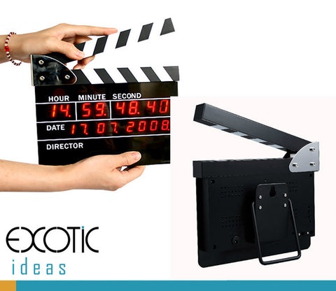 Movie Slate Clapper Board LED Digital Desk Clock with Calendar, Alarm - Big Version: 22.5*18.5*2.5CM