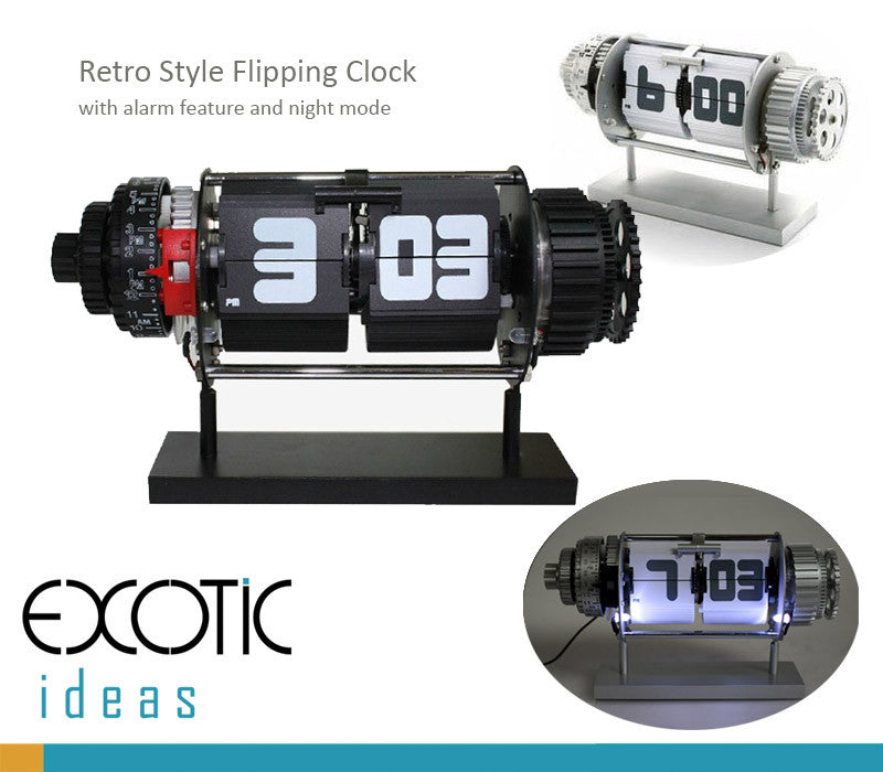 Retro Style Stainless Auto Flip Desk Clock with Gear Design, Alarm Clock  and Night Mode
