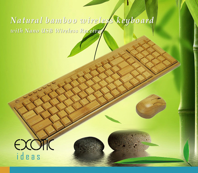 Pure Natural Bamboo Wireless 109 Keys Keyboard and Mouse Set with Nano USB Wireless Receiver