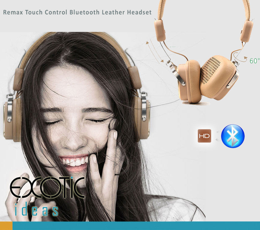 Remax Touch Control Bluetooth Leather Headset,AUX Input, HD Sound Quality - 200HB