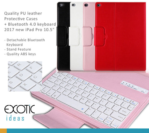 Quality PU leather  Protective Cases with detachable Bluetooth 4.0 keyboard for 2017 iPad Pro 10.5""