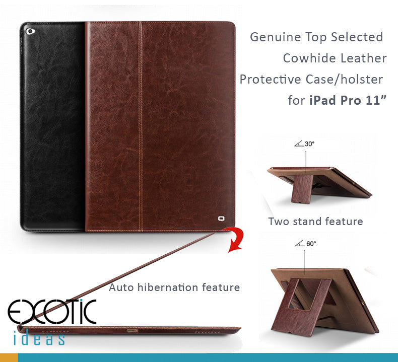 "Genuine Top Selected  Cowhide Leather Smart Cover / Holster for iPad Pro 11"" with 2 stands"
