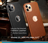 Genuine Selected Cowhide Calfskin Leather Protective Cases Exclusive Design for iPhone 11, 11 Pro and Pro Max, Free Gift -Tempered Glass Film