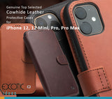 Genuine Selected Cowhide Leather Protective Cases Exclusive Design for iPhone 12, 12 Pro, Pro Max, Mini + Free Gift -Tempered Glass Film
