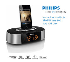 Philips AJ7030D- iPhone 4S, 4, iPod, iPad mini Docking Station with FM, Dual Alarms, Audio-in