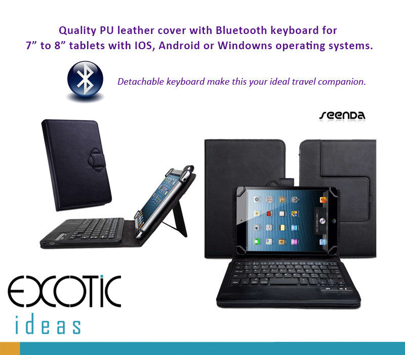 "Universal Bluetooth keyboard for 7"" to 8"" tablets for IOS, Android or MS Windows, bundled with cover"
