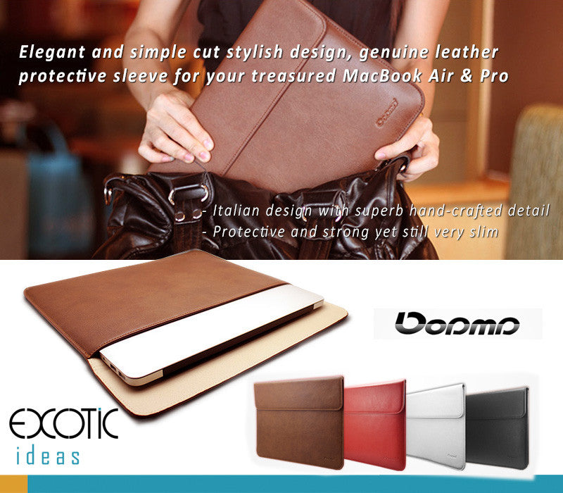 Dopmp Genuine Leather Sleeve Bags for MacBook Air & Pro, Pro Retina-Stylish Elegant, Simple Cut