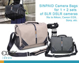 Quality Waterproof Bags for SLR DSLR Cameras - large capacity fits to Canon EOS, Nikon Professional Cameras, Stripe Design for Shoulder or Diagonal Carrying.