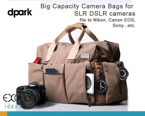 Quality Waterproof SLR DSLR Camera Bags- large capacity fits to Canon EOS, Nikon Professional Cameras.