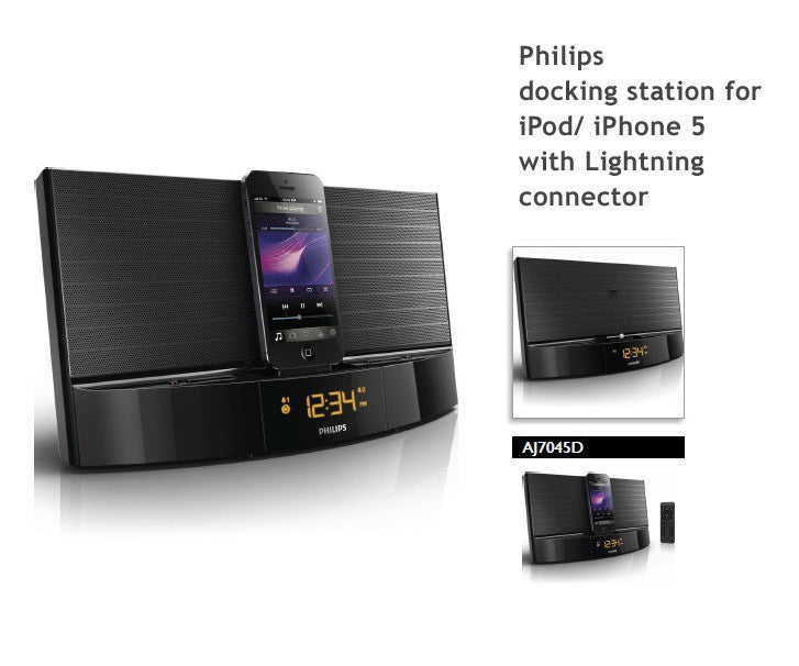 philips aj7045d iphone 5 4s 4 docking station with fm dual