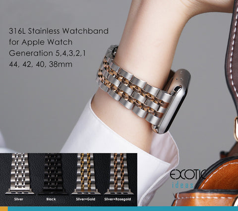 316L Stainless Steel Watch Band for Apple Watch 5,4,3,2,1, Seven Beads Loop Strap with Butterfly Buckle