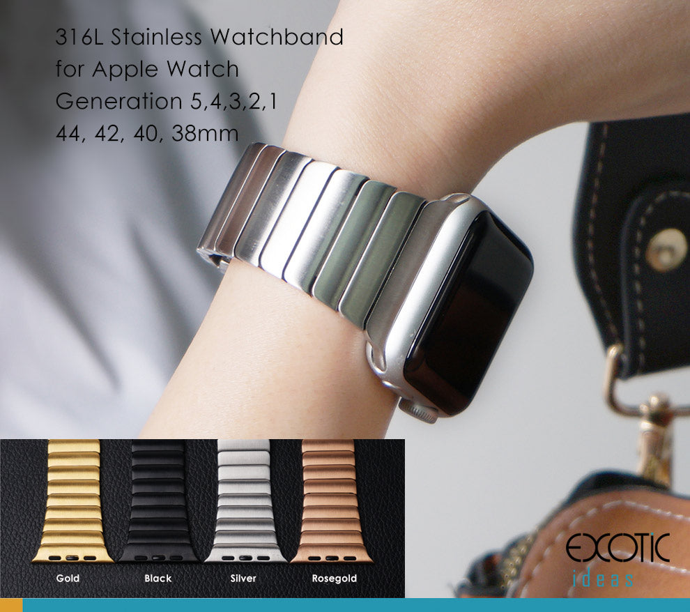 316L Stainless Steel Watch Band for Apple Watch 6,5,4,3,2,1 Single Bead Loop Strap with Butterfly Buckle