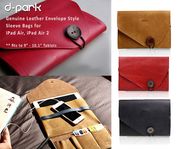 "d-park Genuine Leather Envelope Style Sleeve Bags Multiple FunctionUse -  fits to 9""-10.1"" Tablets"