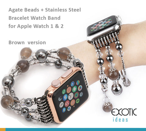 Jewellery Agate Beads + Stainless Steel Bracelet Watch Band for Apple Watch 5.4,3,2,1 - 38mm, 40mm, 42mm, 44mm - Amber+ Sliver Version
