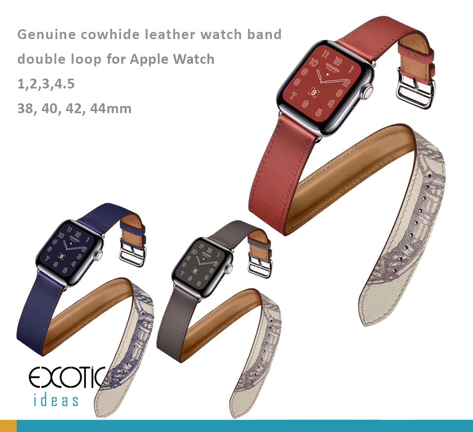 Genuine Leather Watch Bands/Straps for Apple Watch 5, 4, 3, 2, 1 Double Loop Strap - for 38, 40, 42, 44mm