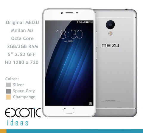 "Meizu M3S GSM/WCDMA 2G,3G,4G compatible Smart Phone MT6750 Octa Core 2GB RAM, 16GB ROM, 5""Inch 1280x720 2.5D GFF HD Screen Touch ID"
