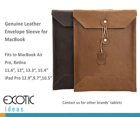 "Genuine Leather Envelope Sleeve for MacBook Air, Pro, Retina 11.6"",12"",13.3"",15.4"" - Portrait"