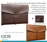 "Genuine Leather Envelope Sleeve for Tablets and Laptops, 11"", 12"", 13"", 15"". Fits to Surface Pro, HP Envy, Spectre, Pavilion, Asus Transformer, Zen Book, Dell Inspiron, Sony Vaio Duo...etc."