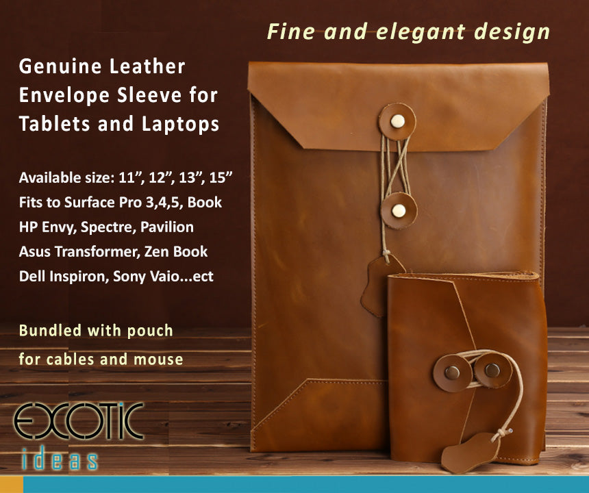 "Genuine Leather  Envelope Sleeve for  Tablets and Laptops, 11"", 12"", 13"", 15"".  Fits to Surface Pro,  HP Envy, Spectre, Pavilion,  Asus Transformer, Zen Book,  Dell Inspiron, Sony Vaio...etc."