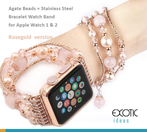 Jewellery Agate Beads + Stainless Steel Bracelet Watch Band for Apple Watch 5,4,3,2,1, 38, 40, 42, 44mm - Rose + Rose Gold Version