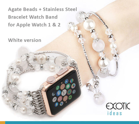 Jewellery Agate Beads + Stainless Steel Bracelet Watch Band for Apple Watch 5,4,3,2,1 38, 40, 42, 44mm - White + Sliver Version